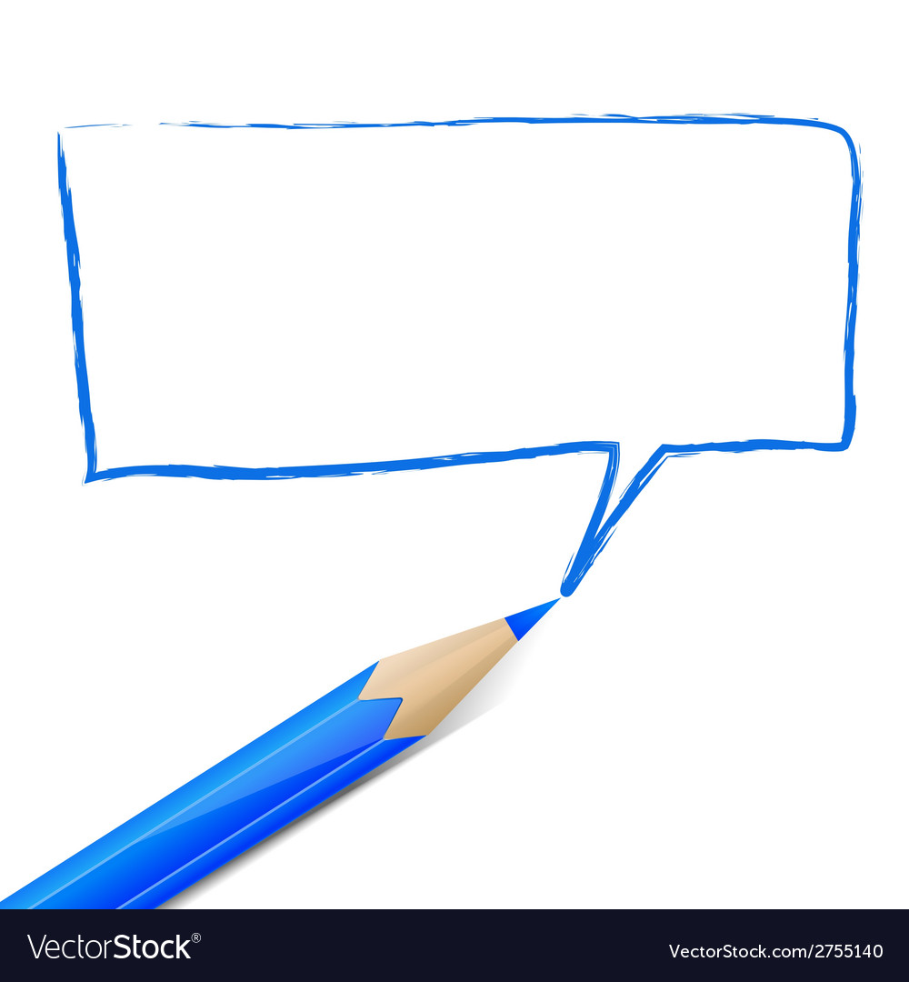 Blue speech bubble drawn with pencil vector | Price: 1 Credit (USD $1)