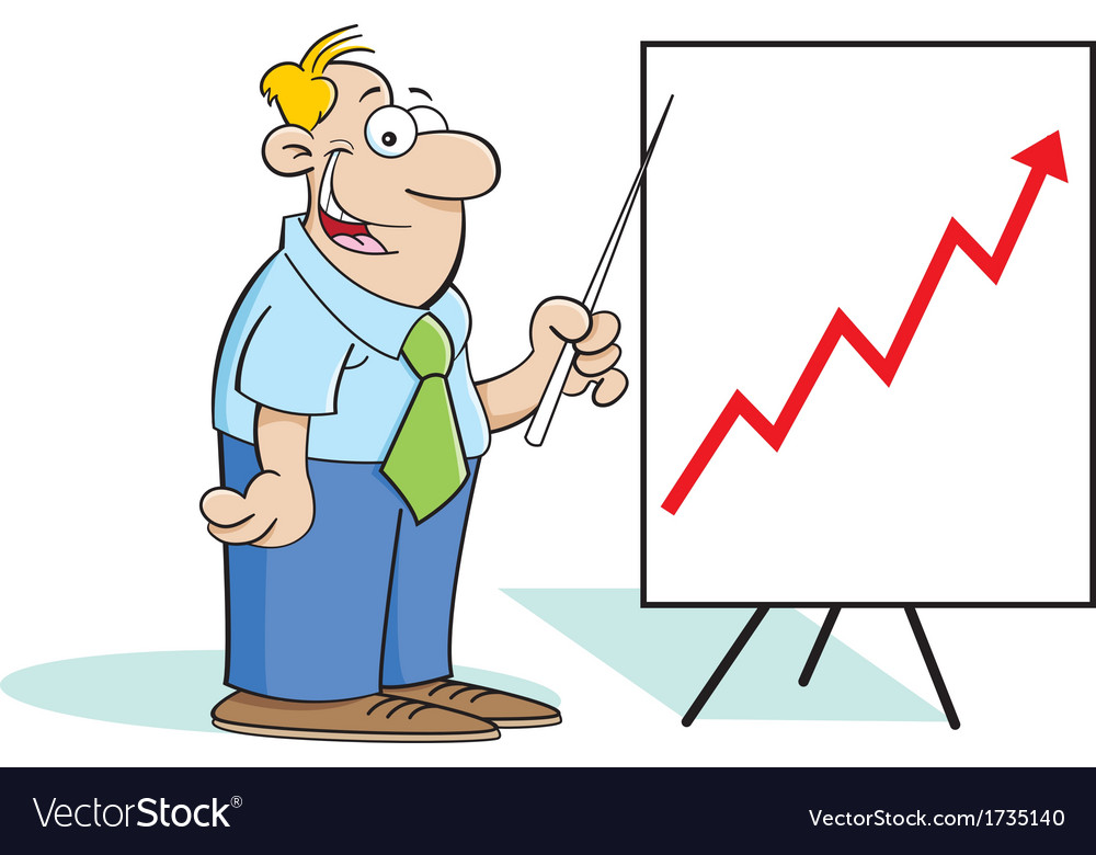 Cartoon man with a chart vector | Price: 1 Credit (USD $1)