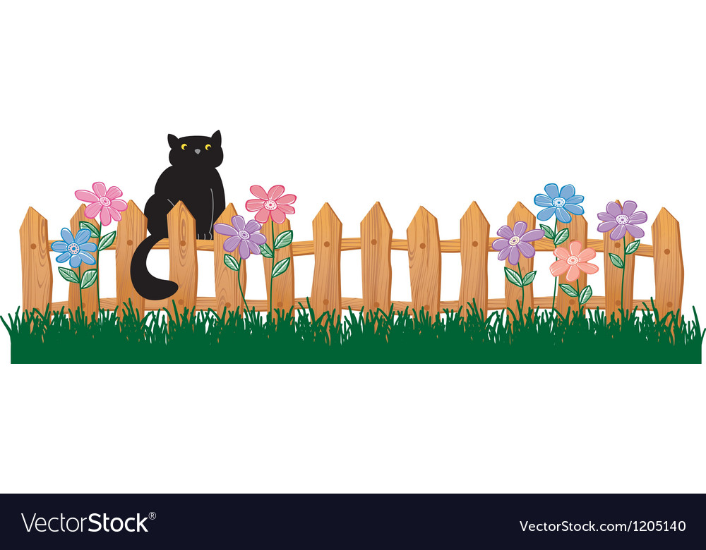 Cute black cat on a fence vector | Price: 1 Credit (USD $1)