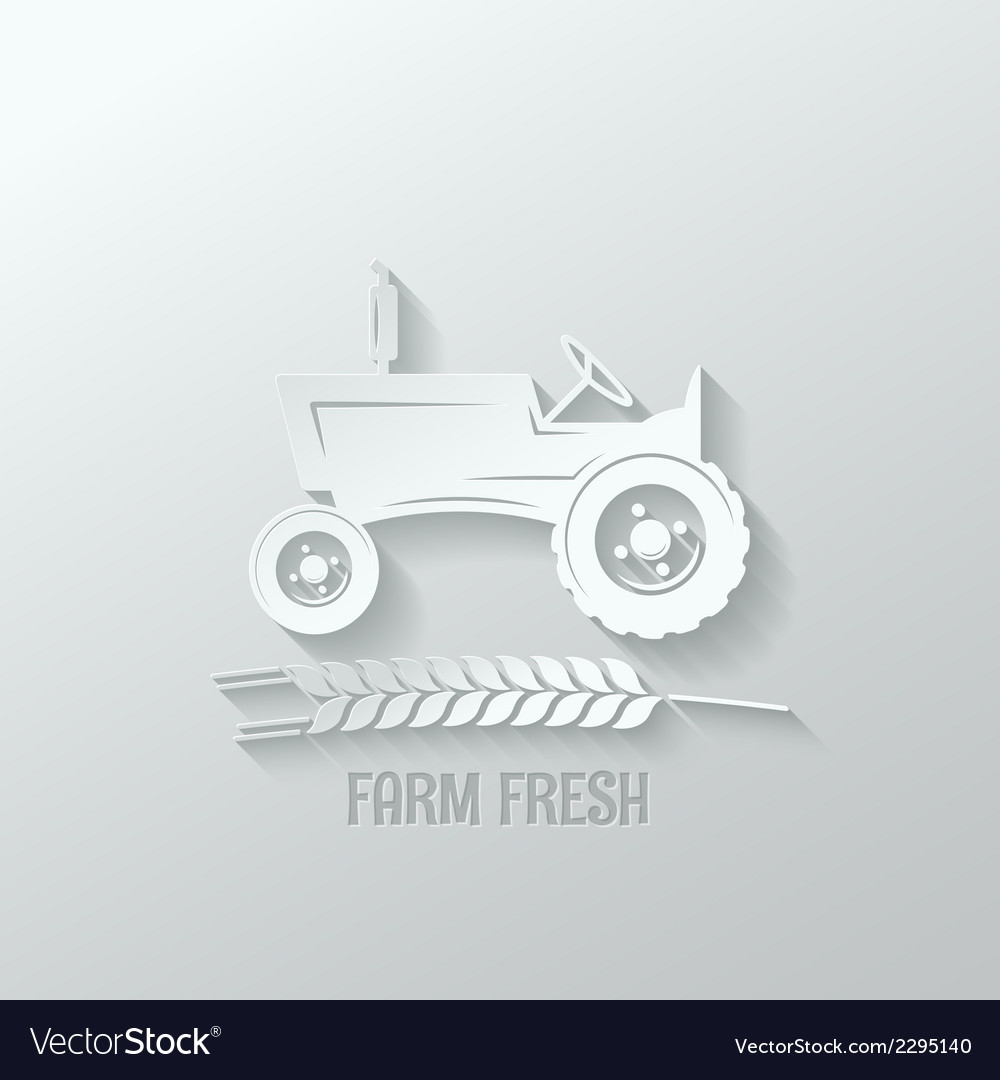 Farm tractor cut paper background vector | Price: 1 Credit (USD $1)