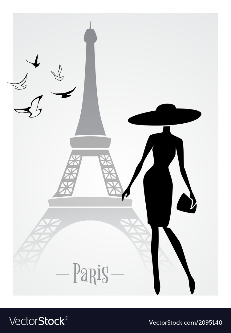 Fashionable lady in front of eiffel tower vector | Price: 1 Credit (USD $1)