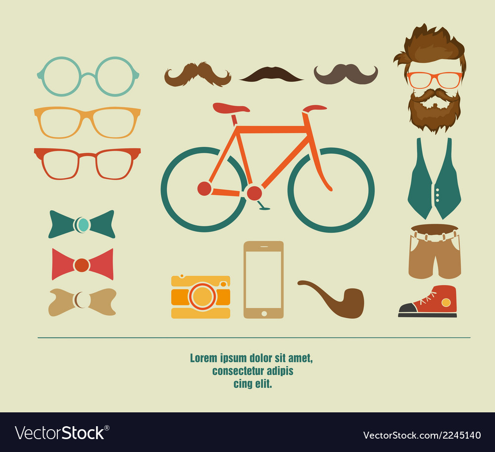 Hipster info graphic hipster elements vector | Price: 1 Credit (USD $1)