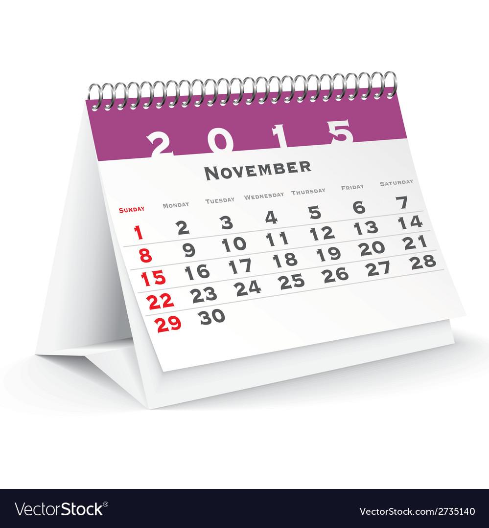 November 2015 desk calendar - vector | Price: 1 Credit (USD $1)