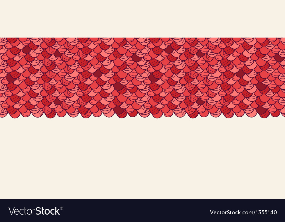 Red roof tile horizontal seamless pattern vector | Price: 1 Credit (USD $1)