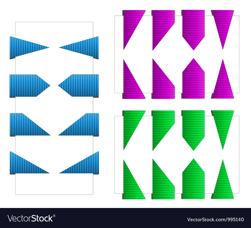 Set of triangle bookmarks with texture vector