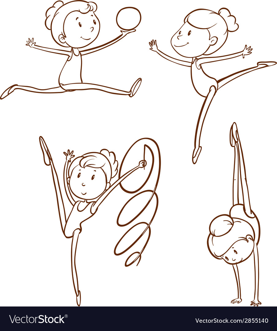 Simple sketches of the gymnasts vector | Price: 1 Credit (USD $1)