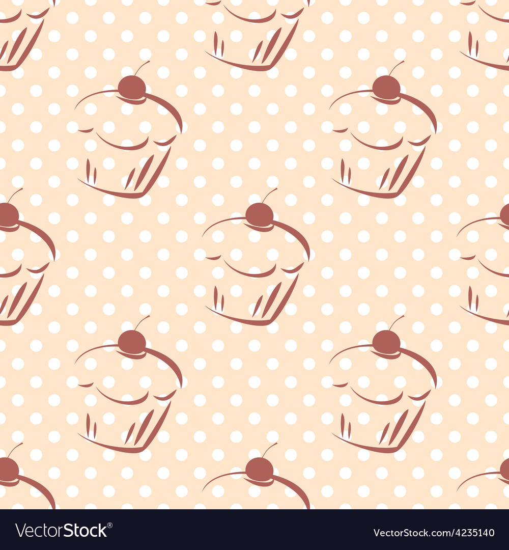 Tile pattern with cherry cupcakes and polka dots vector   Price: 1 Credit (USD $1)