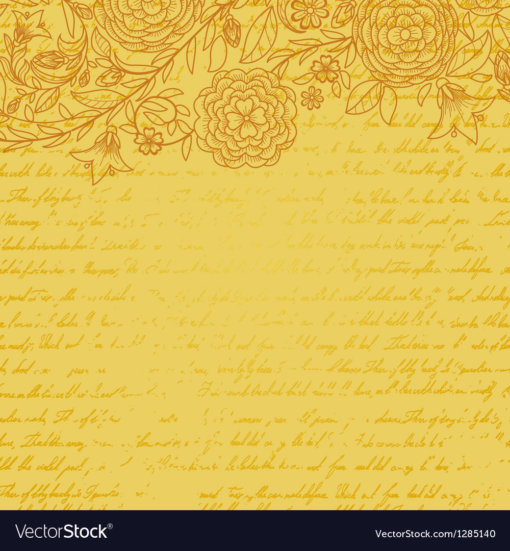 Vintage yellow grungy background with flowers and vector | Price: 1 Credit (USD $1)
