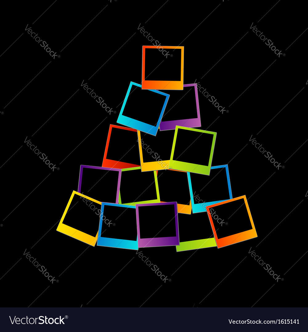 Christmas tree with colorful polaroids vector | Price: 1 Credit (USD $1)