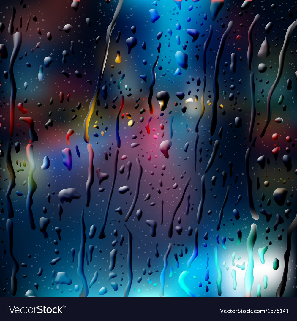 City road at night view through wet glass vector | Price: 1 Credit (USD $1)