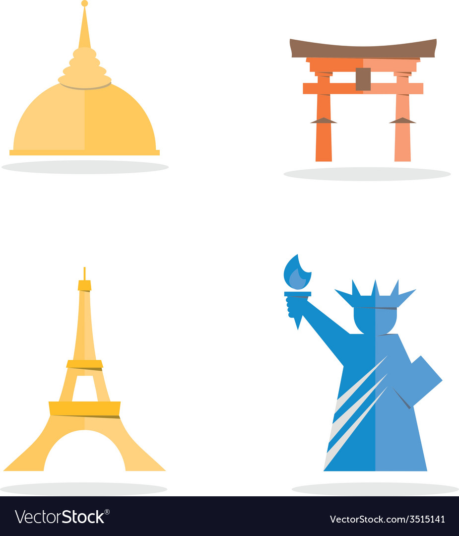Four famous landmark icon vector | Price: 1 Credit (USD $1)