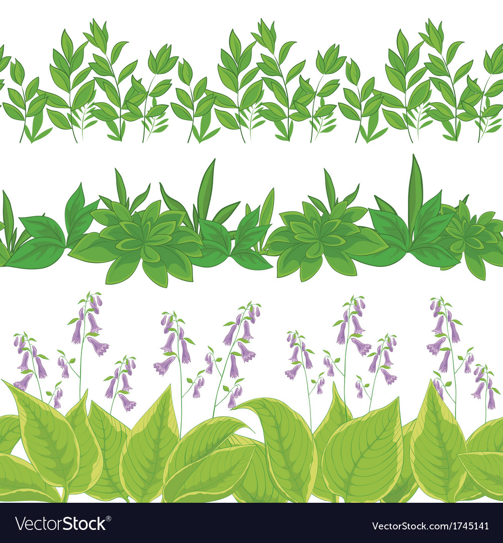 Grass and flowers set seamless vector | Price: 1 Credit (USD $1)