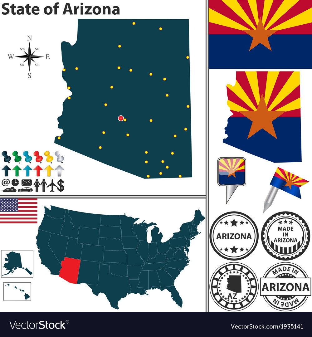 Map of arizona vector | Price: 1 Credit (USD $1)
