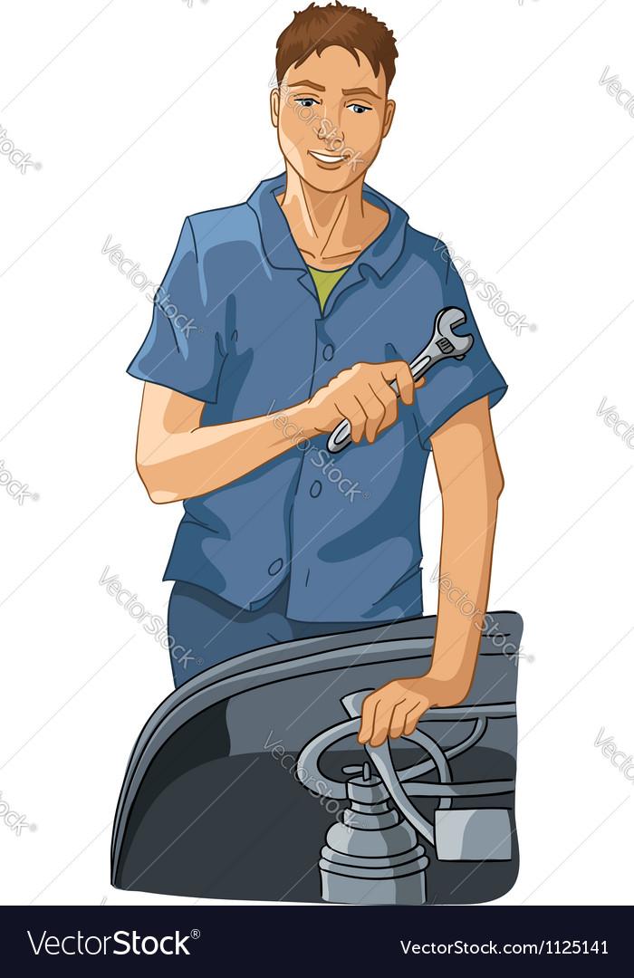 Mechanic repairs equipment vector | Price: 1 Credit (USD $1)