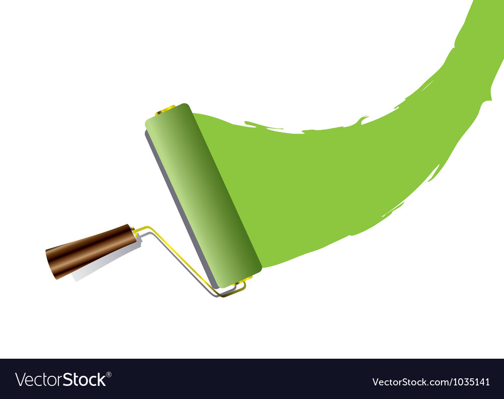 Paint roller swoosh green vector | Price: 1 Credit (USD $1)