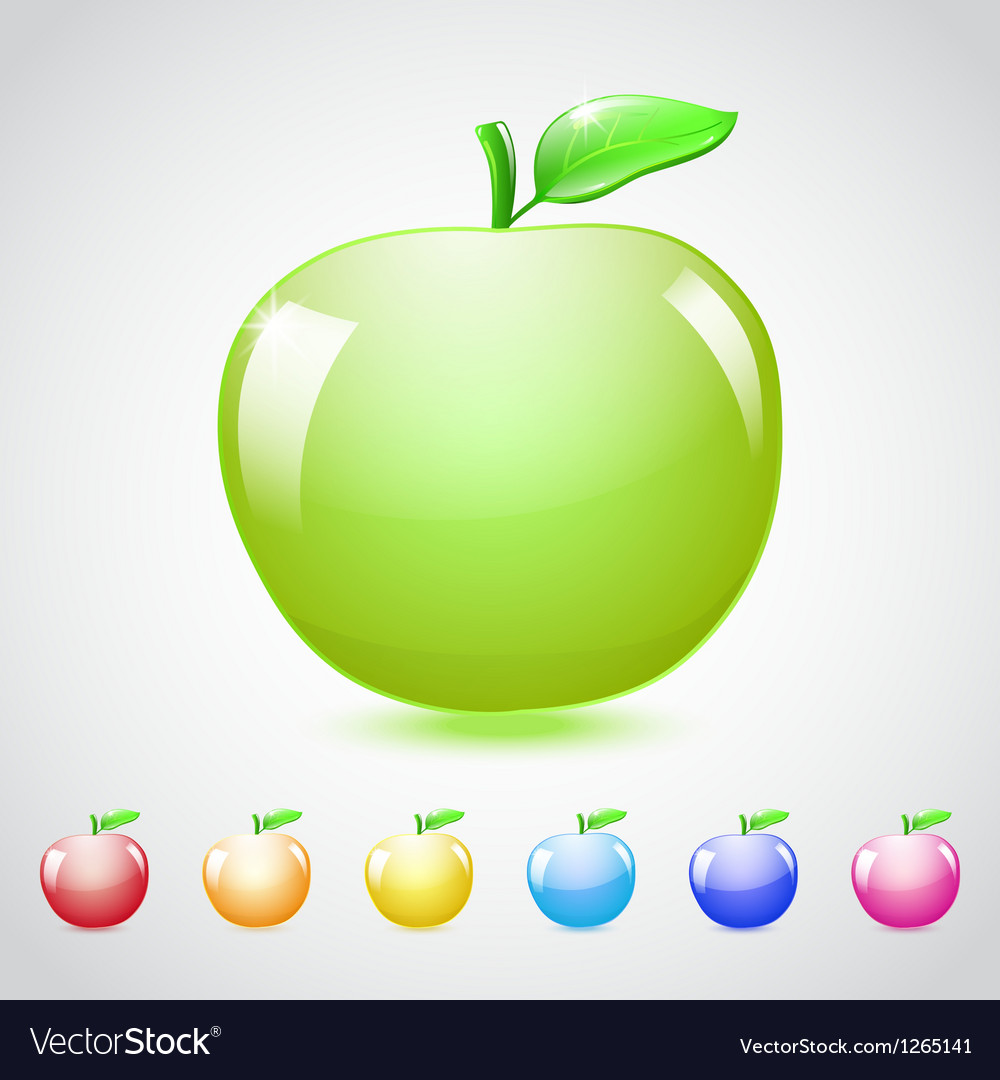 Set of glass apples vector | Price: 1 Credit (USD $1)