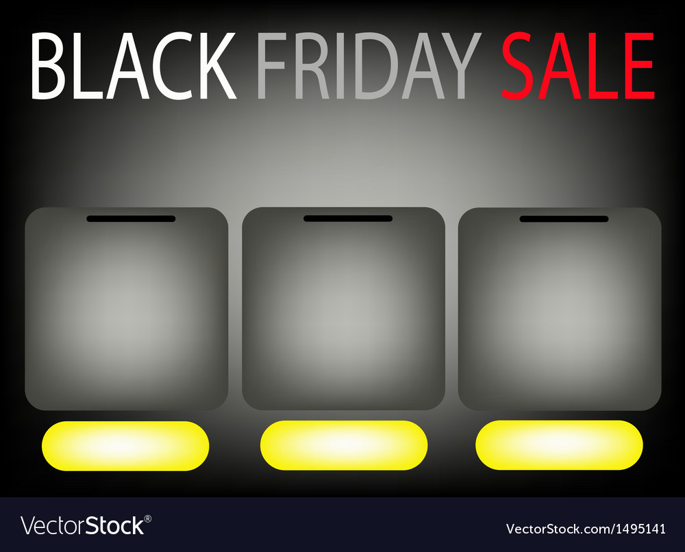Three square label on black friday sale background vector | Price: 1 Credit (USD $1)