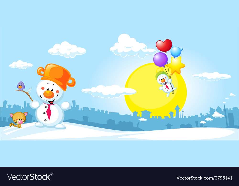 Winter urban landscape with funny snowman cat and vector | Price: 1 Credit (USD $1)