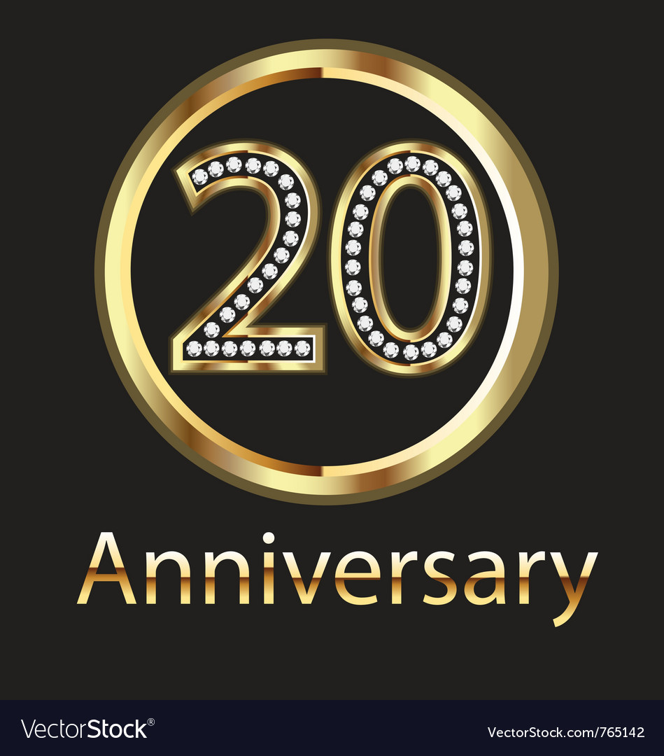 20 anniversary or birthday gold vector | Price: 1 Credit (USD $1)