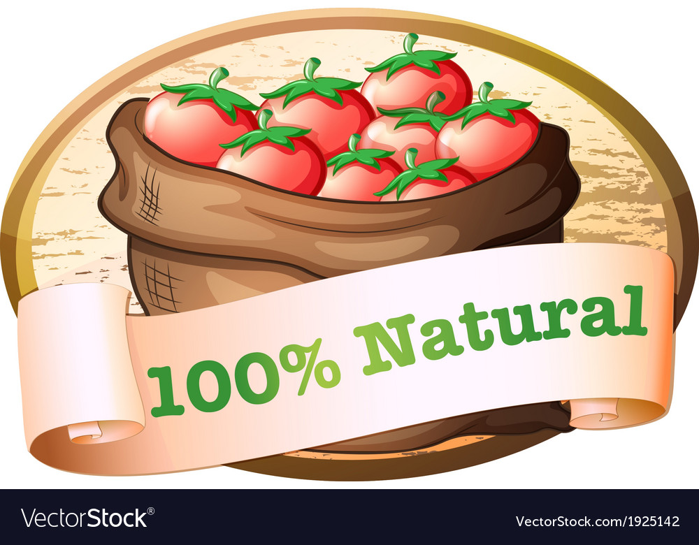 A natural label with a sack of fresh tomatoes vector | Price: 1 Credit (USD $1)