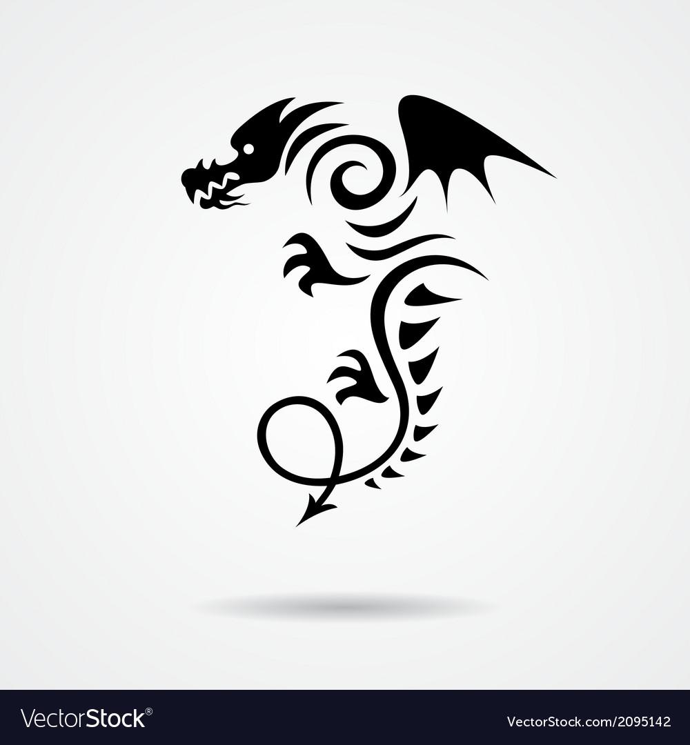Black dragon on white background vector   Price: 1 Credit (USD $1)