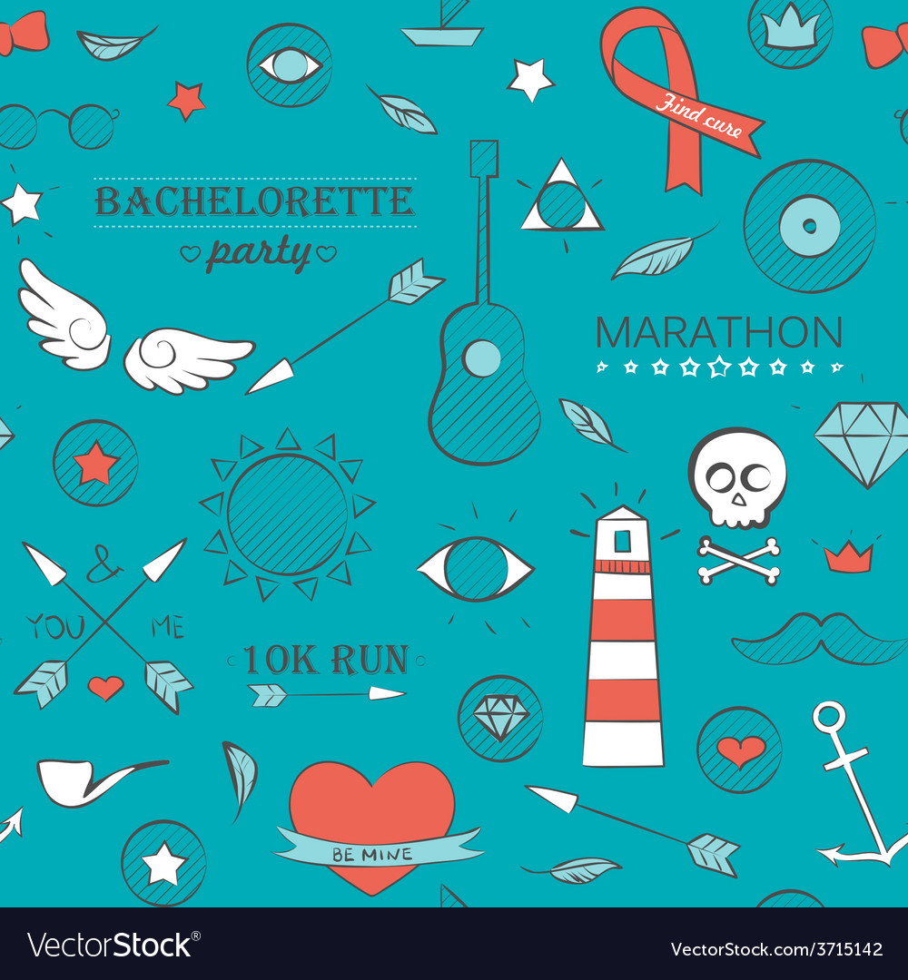 Doodle seamless hipster pattern over turquoise vector | Price: 1 Credit (USD $1)