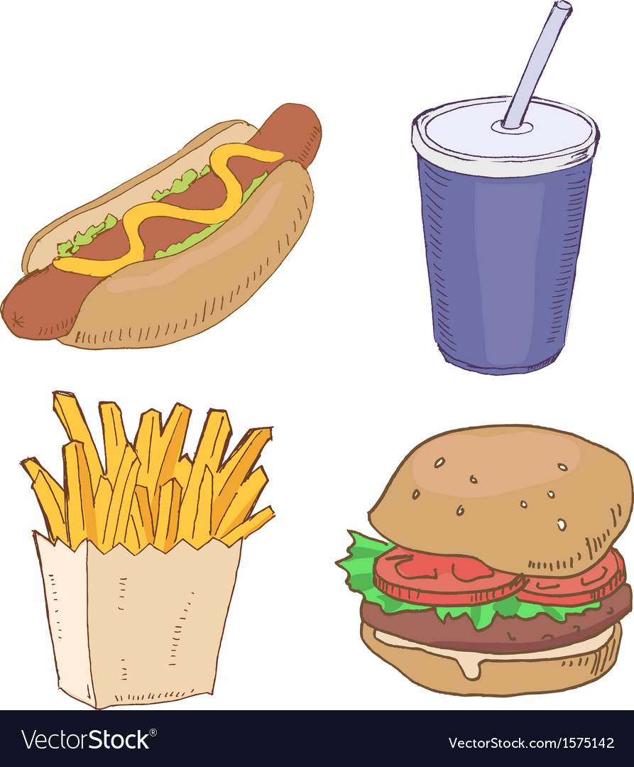 Drawn fast food vector | Price: 1 Credit (USD $1)