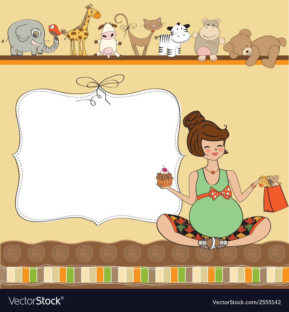 New baby announcement card with pregnant woman vector | Price: 1 Credit (USD $1)