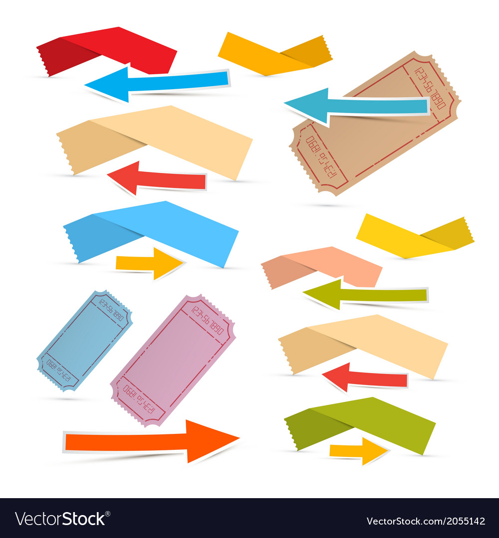 Paper labels tickets and arrows set isolated on vector | Price: 1 Credit (USD $1)