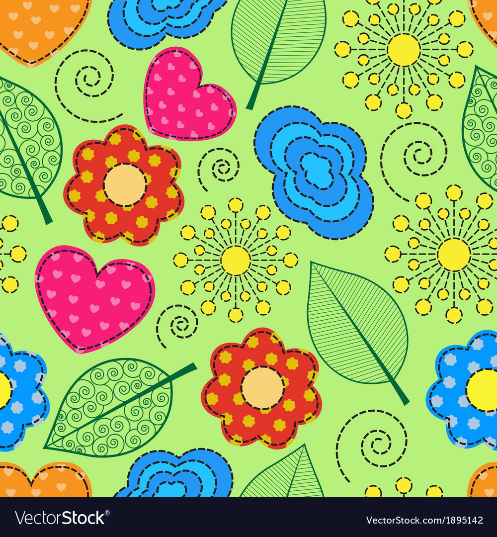 Seamless background with swirls leaves flowers vector | Price: 1 Credit (USD $1)