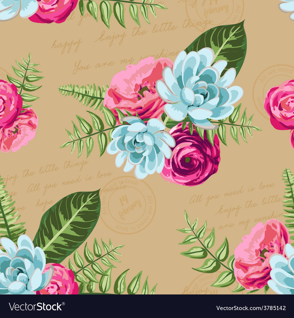 Seamless vintage pattern with painted flower vector | Price: 1 Credit (USD $1)