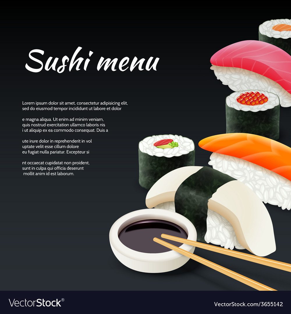 Sushi on black background vector | Price: 1 Credit (USD $1)