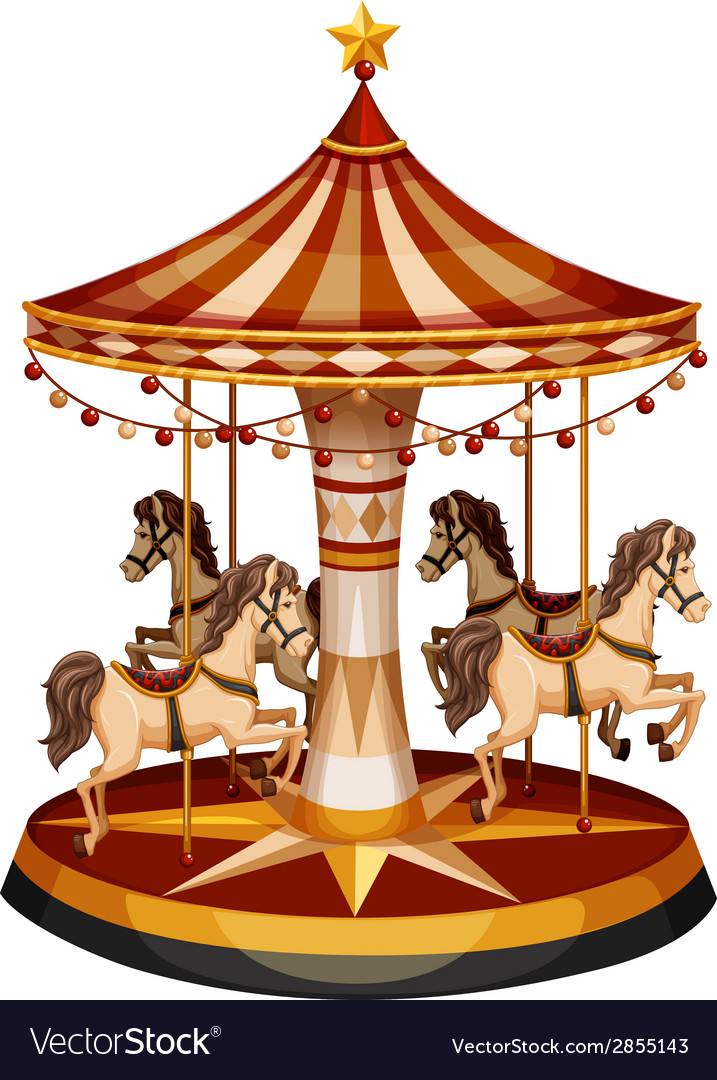 A merry-go-round with brown horses vector | Price: 1 Credit (USD $1)