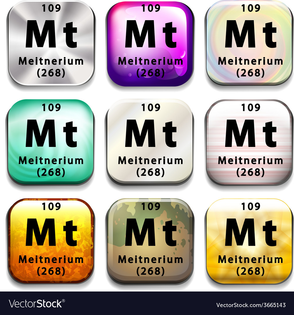 A periodic table showing meitnerium vector | Price: 1 Credit (USD $1)