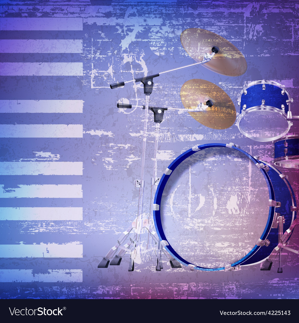 Abstract blue grunge background with drum kit vector | Price: 3 Credit (USD $3)