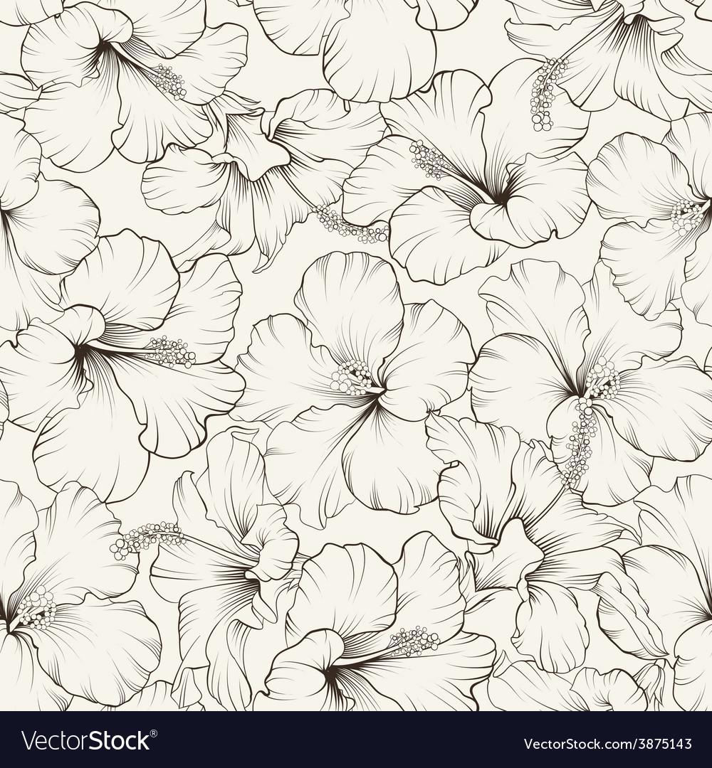 Beautiful hibiscus pattern vector | Price: 1 Credit (USD $1)