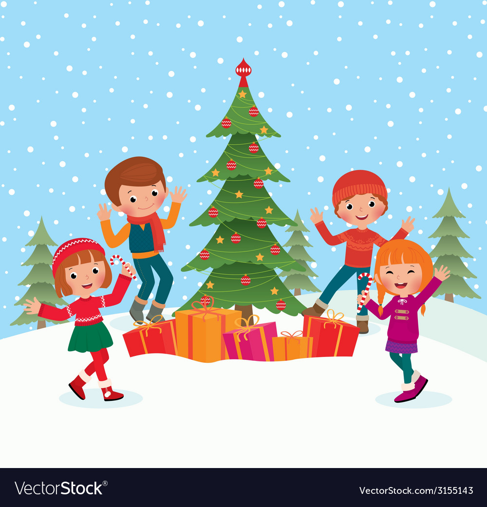 Children celebrate christmas vector | Price: 1 Credit (USD $1)