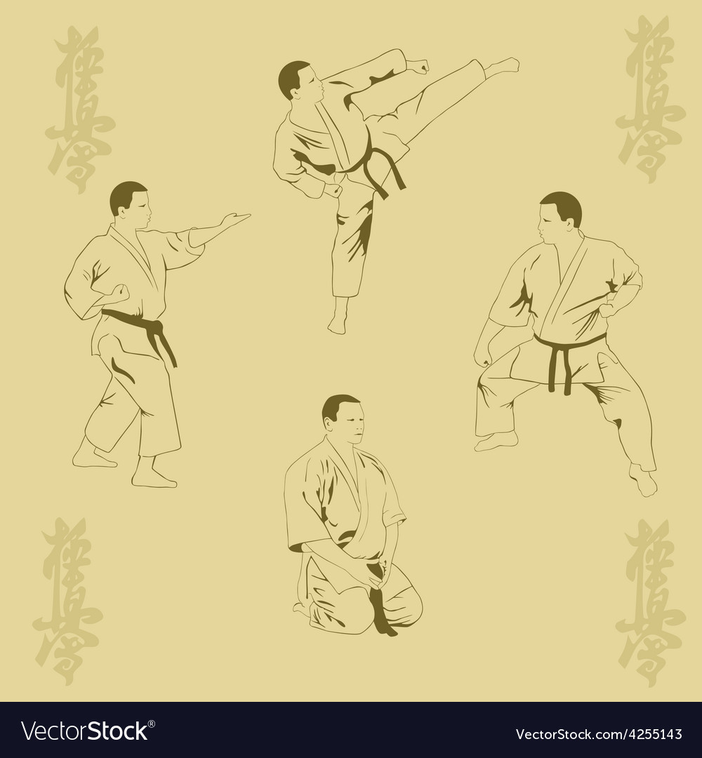Four men show karate vector | Price: 1 Credit (USD $1)
