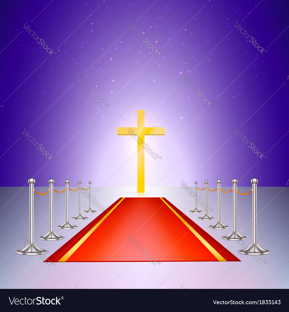 Gold cross red carpet and fencing of chrome struts vector | Price: 1 Credit (USD $1)