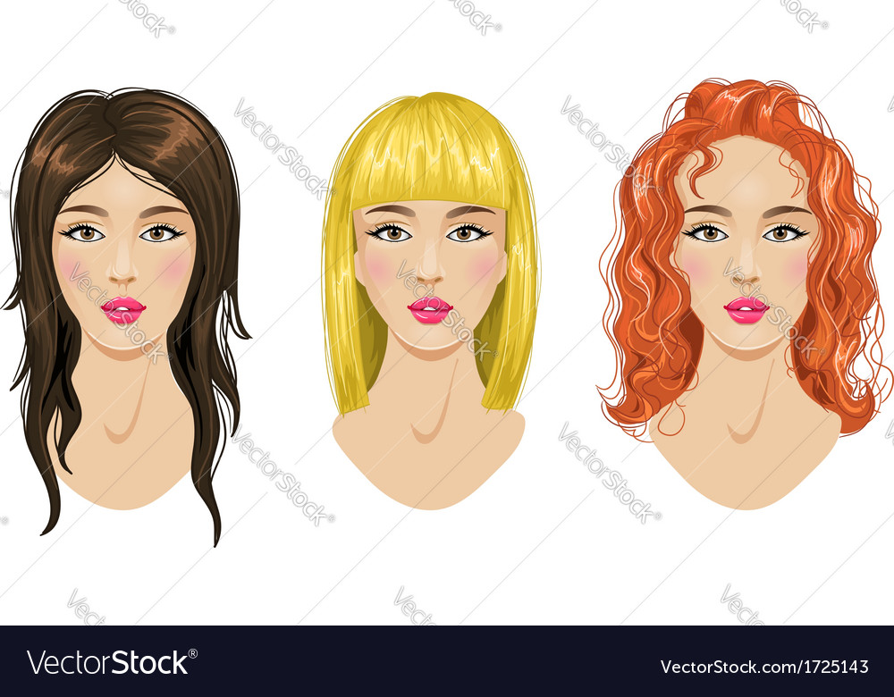 Hairstyles set blonde brunette red-haired woman vector | Price: 1 Credit (USD $1)