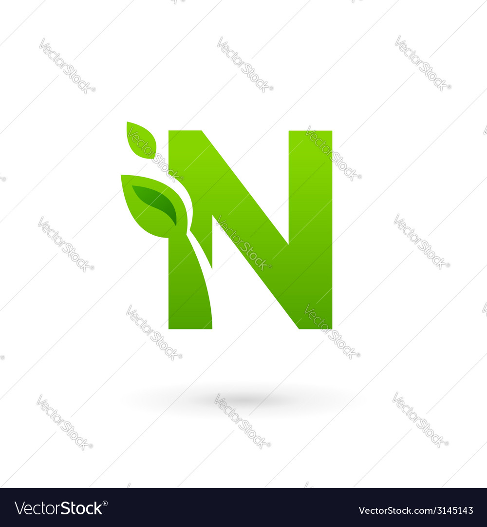 Letter n eco leaves logo icon design template vector | Price: 1 Credit (USD $1)