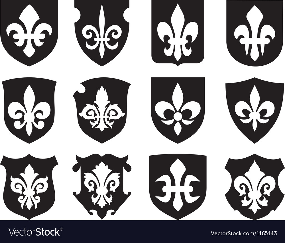 Lily flower heraldic symbol with shields vector | Price: 1 Credit (USD $1)