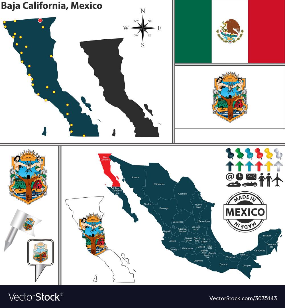 Map of baja california vector | Price: 1 Credit (USD $1)