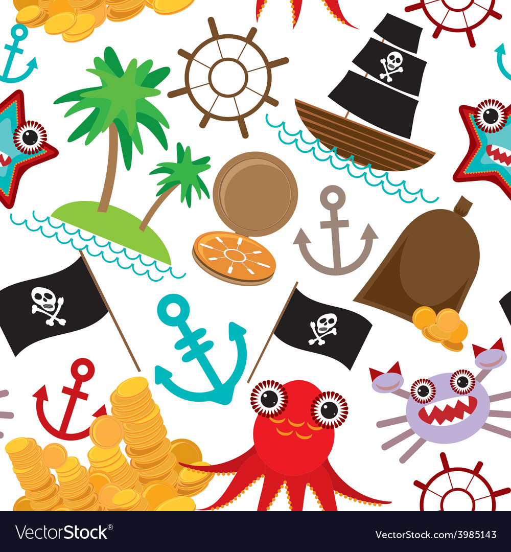 Marine seamless pirate pattern on white background vector | Price: 1 Credit (USD $1)