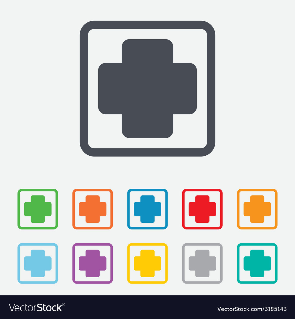 Medical cross sign icon diagnostics symbol vector | Price: 1 Credit (USD $1)