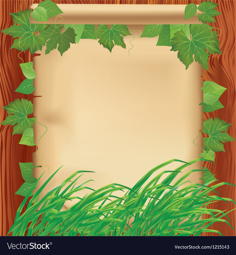 Nature background with leaves grass and paper vector | Price: 1 Credit (USD $1)