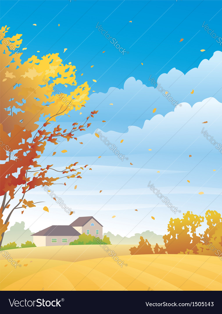 Rural autumn day vector | Price: 3 Credit (USD $3)