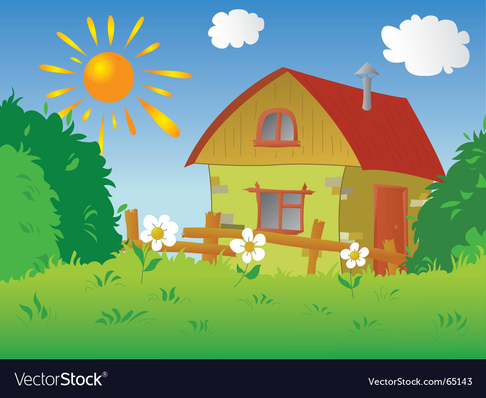 Rural cottage vector | Price: 1 Credit (USD $1)