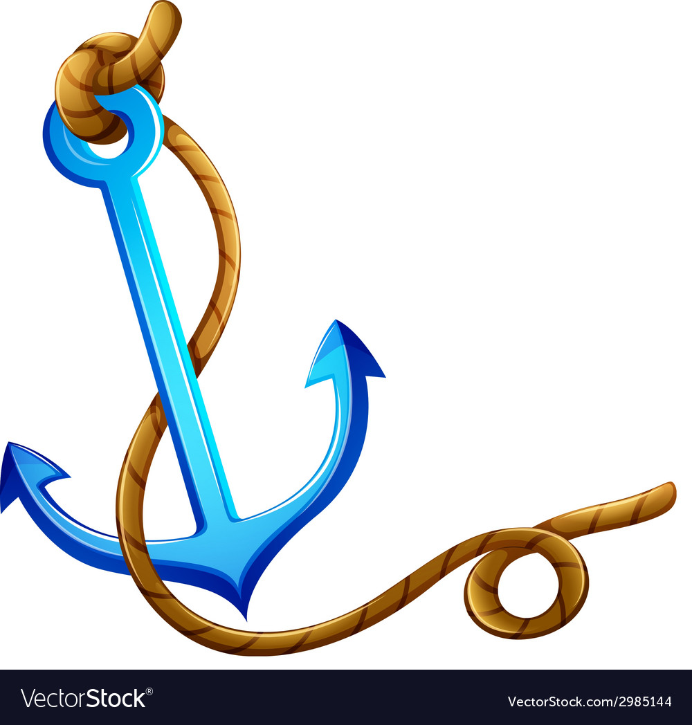 An anchor with a rope vector | Price: 1 Credit (USD $1)