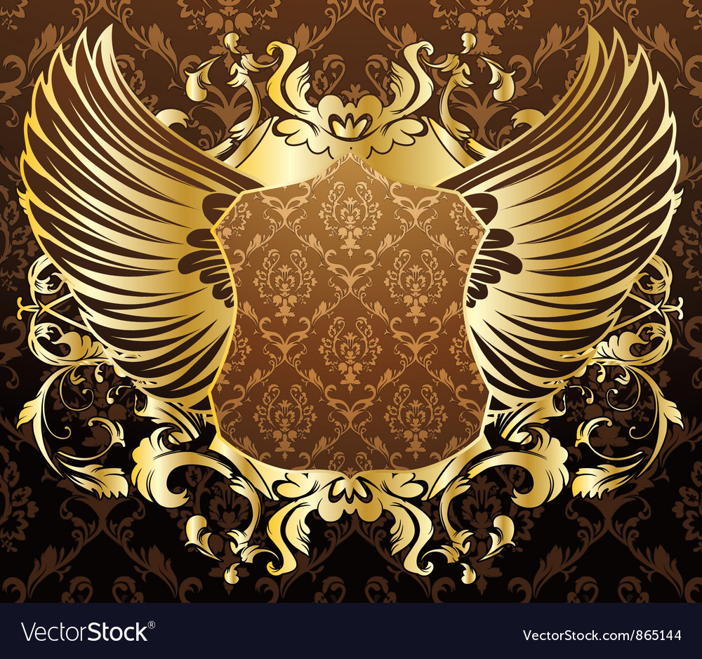 Gold shield with wings vector | Price: 1 Credit (USD $1)